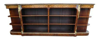 Victorian Walnut Marquetry Open Bookcase