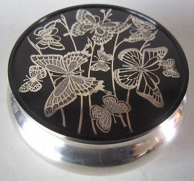 Vintage OL ONEIDA Silver Plate BUTTERFLY Inlaid Top Vanity Powder Trinket BOX