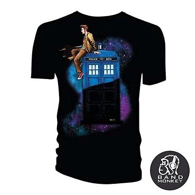 Doctor Who Mens/Unisex T-Shirt 10th Doctor Sitting on Tardis Space