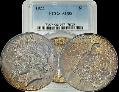 1922 Silver Peace Dollar PCGS AU58 Dark Orange/Yellow Toned Coin