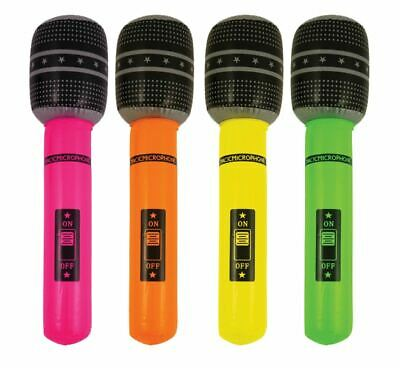 """16"""" Large Neon Inflatable Microphone Blow Up Fancy Dress Retro Party Prop Decor"""