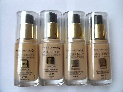 MAX FACTOR FACEFINITY 3 IN 1 FLAWLESS  FOUNDATION 30ml- VARIOUS - USE DROP MENU