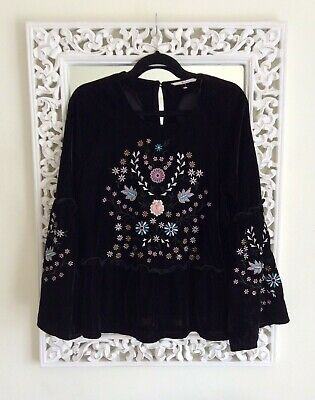 TU Black Velvet Floral Embroidered Bell Sleeved Top, Size UK 12 Immaculate