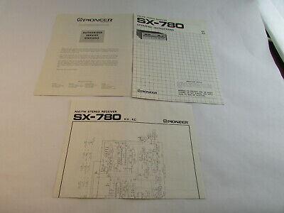 Pioneer SX-780 Receiver's ORIGINAL Owners Manual, Schematics & Service Stations