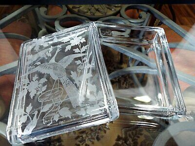 Rare Vintage FOSTORIA ORIENTAL Etched PEACOCK Covered CIGARETTE or TRINKET BOX