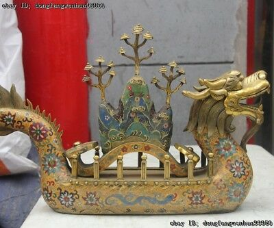 Chinese Royal Palace Copper Cloisonne Enamel Lucky Ru Yi Dragon Ship Boat Statue