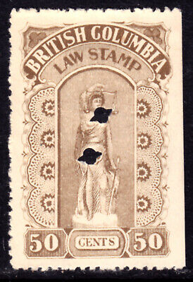 BRITISH COLUMBIA LAW STAMP REVENUE #BCL20b 50c, 1905-1912, PINPERF, USED
