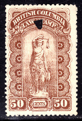 BRITISH COLUMBIA LAW STAMP REVENUE #BCL7a 50c BROWN, 1888-91, Wmk'd, USED