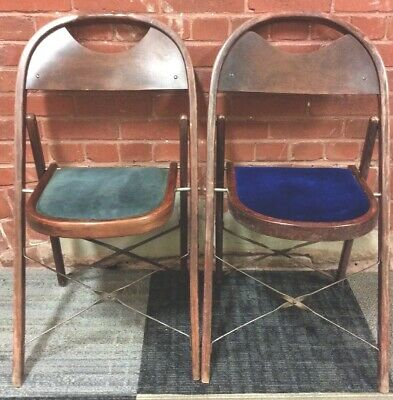 2 Vintage Wood Folding Chair Chairs Velvet Seat Theater Parlor Curved Back Event
