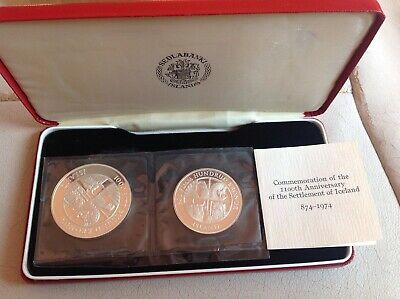 Iceland 1974 Silver Proof 500 & 1000 Kronur Coin Set Mint Sealed Boxed COA