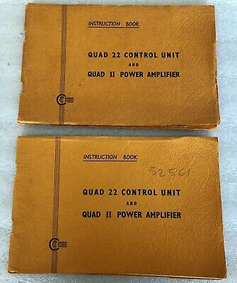 Quad 22 control and II power amplifier manual 1964 with inserts ORIGINAL