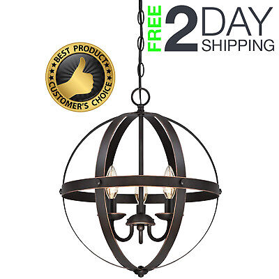 Vintage Metal Farmhouse Lamp 3 Light Pendant Oil Rubbed Bronze Indoor Chandelier