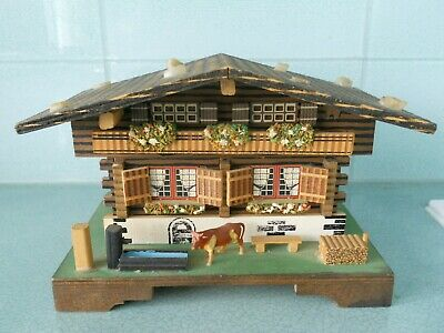Vintage Hand Made & Hand Painted Swiss Chalet Music Box