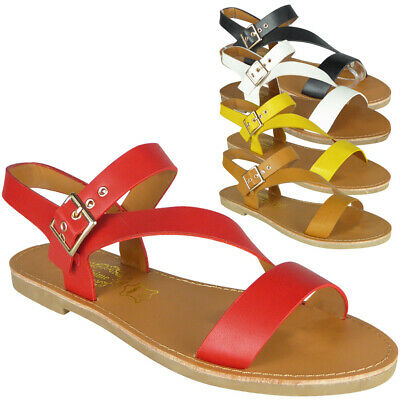 Womens Ladies Comfy Flat Summer Buckle Strappy Slingback New Sandals Shoes Size