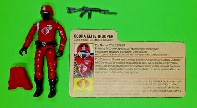 25TH GI JOE FIGURE COBRA ELITE TROOPER CRIMSON GUARD 100/% COMPLETE W//FILE CARD