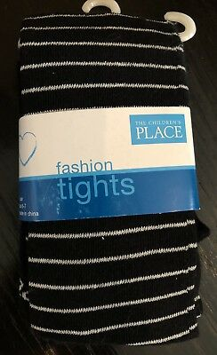 ~ NWT Childrens Place Black Silver Stripe Knit Tights size 6-7 girls