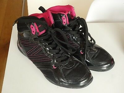 PINEAPPLE girls black leather dance high top trainers shoes 4 37 Great Condition