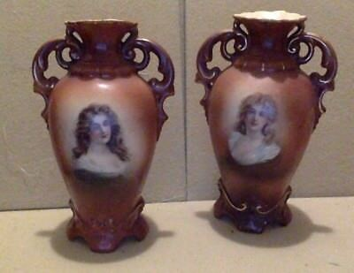 "Antique Pair of Austrian Urn Vases. Brown. Pictorial. #21. 6 1/2"". Early 1900's."