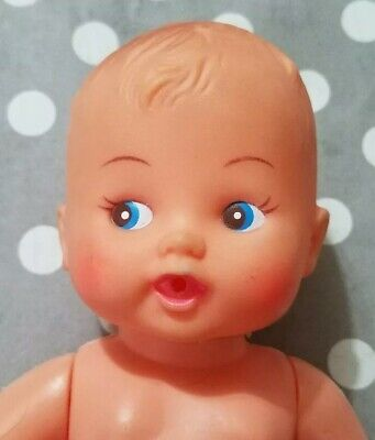"""Vintage Hard Plastic Baby Doll Blue Eyes Mouth For Bottle 8"""" Hong Kong Jointed"""