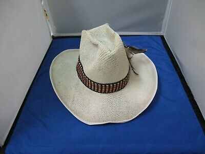 Vintage Unbranded Beige Cowboy Hat With Sweatband, Hatband And Feathers Size 7