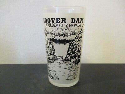 Circa 1960's Souvenir Glass Hoover Dam Boulder City Nevada Hazel Atlas