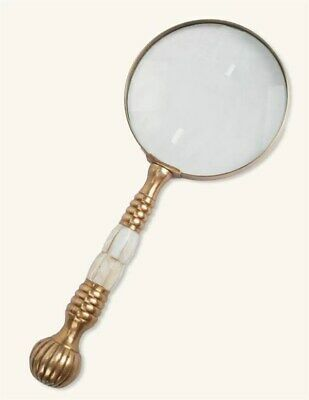 Victorian Trading Co Mother of Pearl & Brass Magnifying Glass Desk Accessories