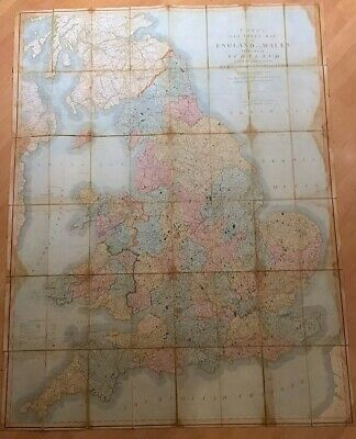 J Cary / Cary's Six Sheet Map of England and Wales with Part of Scotland