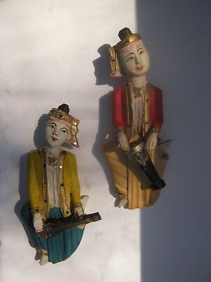 2-Vintage Asian People/Musical Instruments-Painted Carved Wall Hanging/Figurines