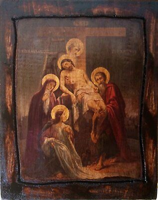 Jesus Christ - Descent from the Cross - Orthodox Byzantine icon on wood handmade