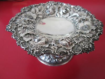 Antique STIEFF ROSE REPOUSSE pattern STERLING Silver  COMPOTE  195 grams NR