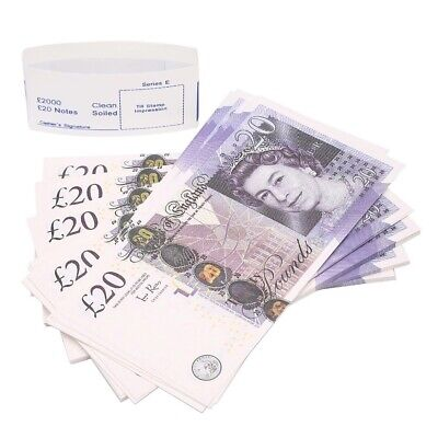 100x 20 Notes Realistic UK Pounds Movie Prop Money British Gbp Prank Gift Bday