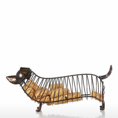 Tooarts  Dachshund Wine Cork Container Iron Craft Animal Ornament Art Brown N1A0