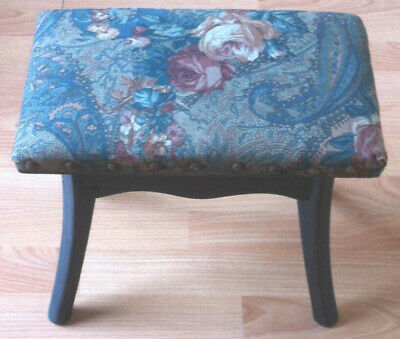 Antique footstool small dark solid oak milking stool side table ebony vintage