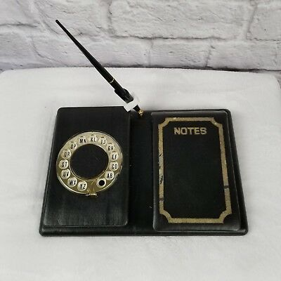 Vintage Telephone Address Book Rotary Dial Pop Up Desktop Pen Note Pad Leather