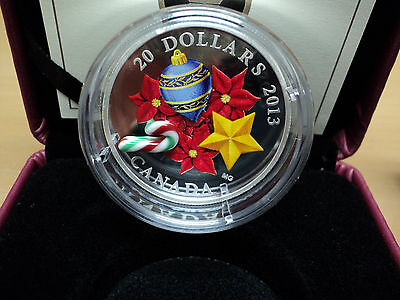 2013 Canada Silver Holiday Murano Glass Candy Cane Coin 7229