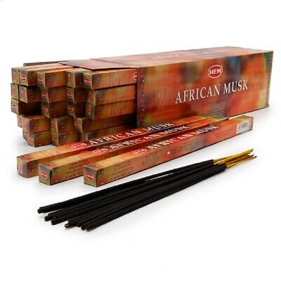 40 Incense Sticks - AFRICAN MUSK - HEM BRAND - 5 Sq Boxes x 8g- Fresh Stock