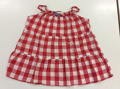 Girls Beautiful Mini Bowden Red And White Checked 100% Cotton Top Age 5-6 Yr