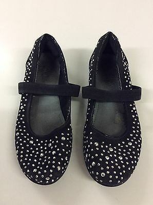 Girls lelli kelly Black Pumps With Silver Studs And Elasticated Strap Size 33