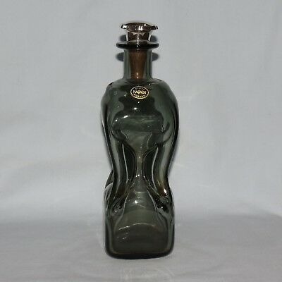 retro MAGNOR GLASS NORWAY PINCHED or GLUG DECANTER WITH 800 SILVER STOPPER
