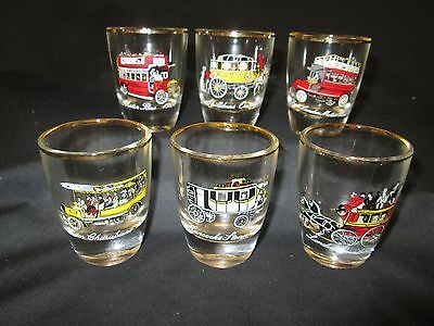 Set Of Six Shot Glasses Depicting Transport In The 20Th Century 1950'S