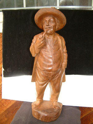 Antique Large German Black Forest Wood Carving Of A Male With A Pipe, Signed.