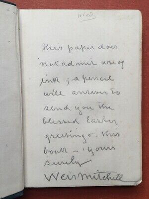 S Weir Mitchell / Comfort of the Hills and other poems inscribed copy Signed 1st