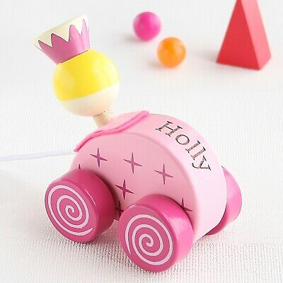 Personalised Pink Princess Wooden Pull Along Toy (Optional Personalisation)