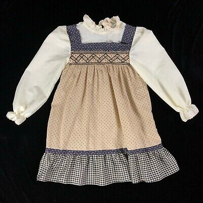 Vintage Polly Finders Pinafore Dress Girls Size 6X Hand Smocked Tan Floral Dot