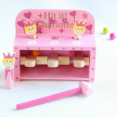 Personalised Princess Hammer & Pop Up Peg Wooden Toy, Birthday Gift