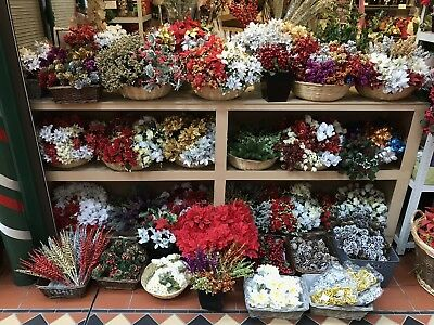 100x Artificial Christmas Flowers Greenery Bunches Joblot Wholesale Clearance