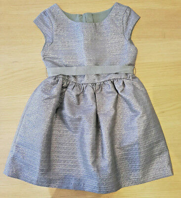 Girls silver sparkly belted party dress 8 yrs