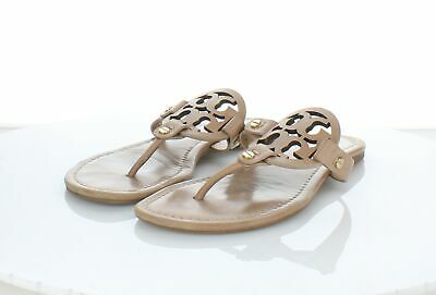 bc7ccda83799 3166 Tory Burch Miller Sand Patent Leather Thong Strap Sandals Women s Sz  ...