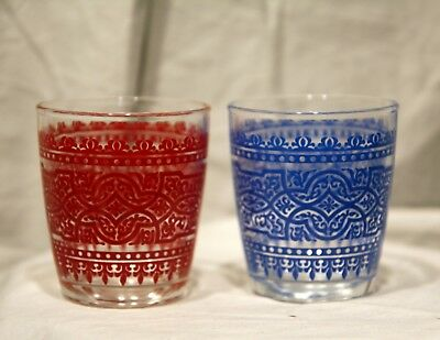 Set of 2 Vintage Mid Century Red & Blue Textured Lowball Rocks Tumbler Glasses