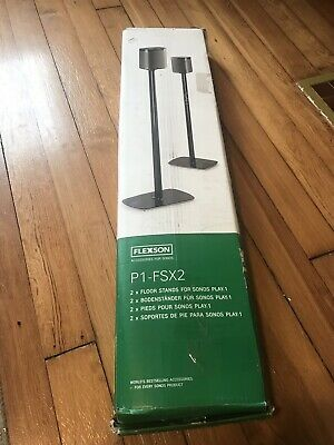 Flexson P1-FSX2 Black Pair 2 Floor Stands for Sonos Play:1 MISSING PARTS AS IS